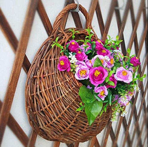 MHGAO Garland Plant Hangende manden, Vlechtwerk handgeweven Wandmontage Verticale Tuin Bloempotten, Woonkamer Plantenmand