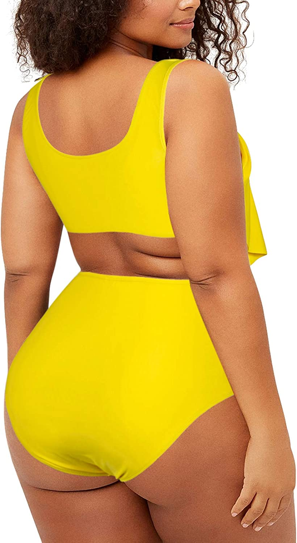 Pink Queen Women Plus Size Bikini Set 2 Piece High Waist Tummy Control Ruffle Swimsuit