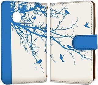 anve XPERIA X F5121 / F5122 国内生産 カード スマホケース 手帳型 SONY ソニー エクスペリア エックス 【C.ブルー】 モノクロ 木 鳥 best_vc-821