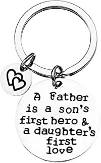 Gifts for Dad A Father is a Son's First Hero & a Daughter's First Love Keychain Dad Fathers Day Christmas Birthday Gifts f...