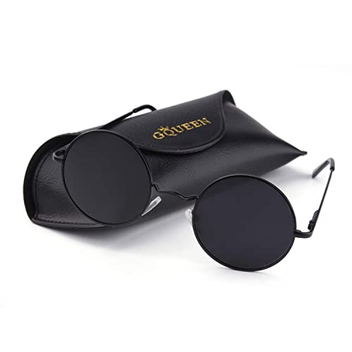 62baa405a6 GQUEEN Classic Lennon Round Polarized UV400 Protection Sunglasses with Vintage  Circle Metal Frame Spring Hinge MEZ1