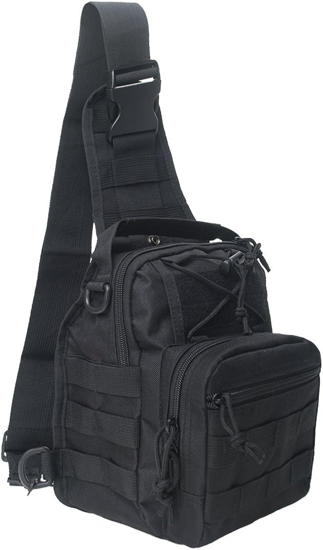 Tactical Sling Bag Wholesale, Military Molle Assault Range Bag Bulk Sale, Chest Shoulder Pack Crossbody Backpack for Men Women Camping Hiking TrekkingBlack5 pcs