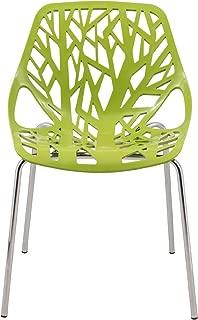 ModHaus Modern Green Stencil Birch Tree Sapling Chair with Chrome Legs