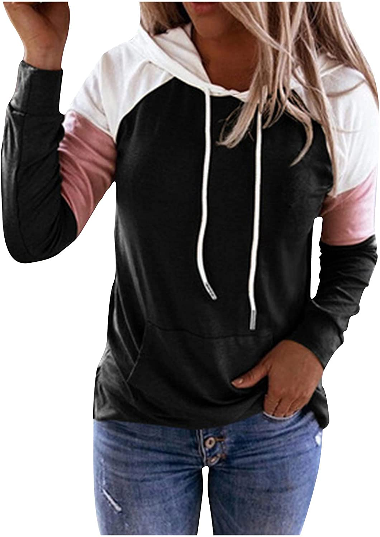 Sweatshirts for Women Casual Patchwork Hoodies T-Shirt Long Sleeve Casual Sweatshirt Top Blouse for Ladies