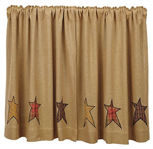VHC Brands Stratton Burlap Applique Star Tier Set of 2 L36xW36 Country Curtains, Tan