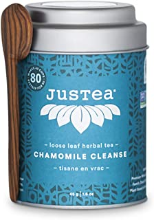 JusTea CHAMOMILE CLEANSE | Loose Leaf Herbal Tea with Hand Carved Tea Spoon | 40+ Cups (1.6oz) | Caffeine Free | Award-Win...