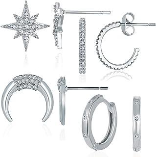 4 Pairs Silver Star Moon Earrings Set Hypoallergenic Helix Cartilage Piercing Stud Earrings Statement Jewelry for Women Gi...