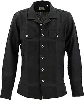 [GIANNETTO ジャンネット] メンズ リネン オープンカラー 開襟シャツ WASH CON 0103 845CARA2P 007(ブラック)