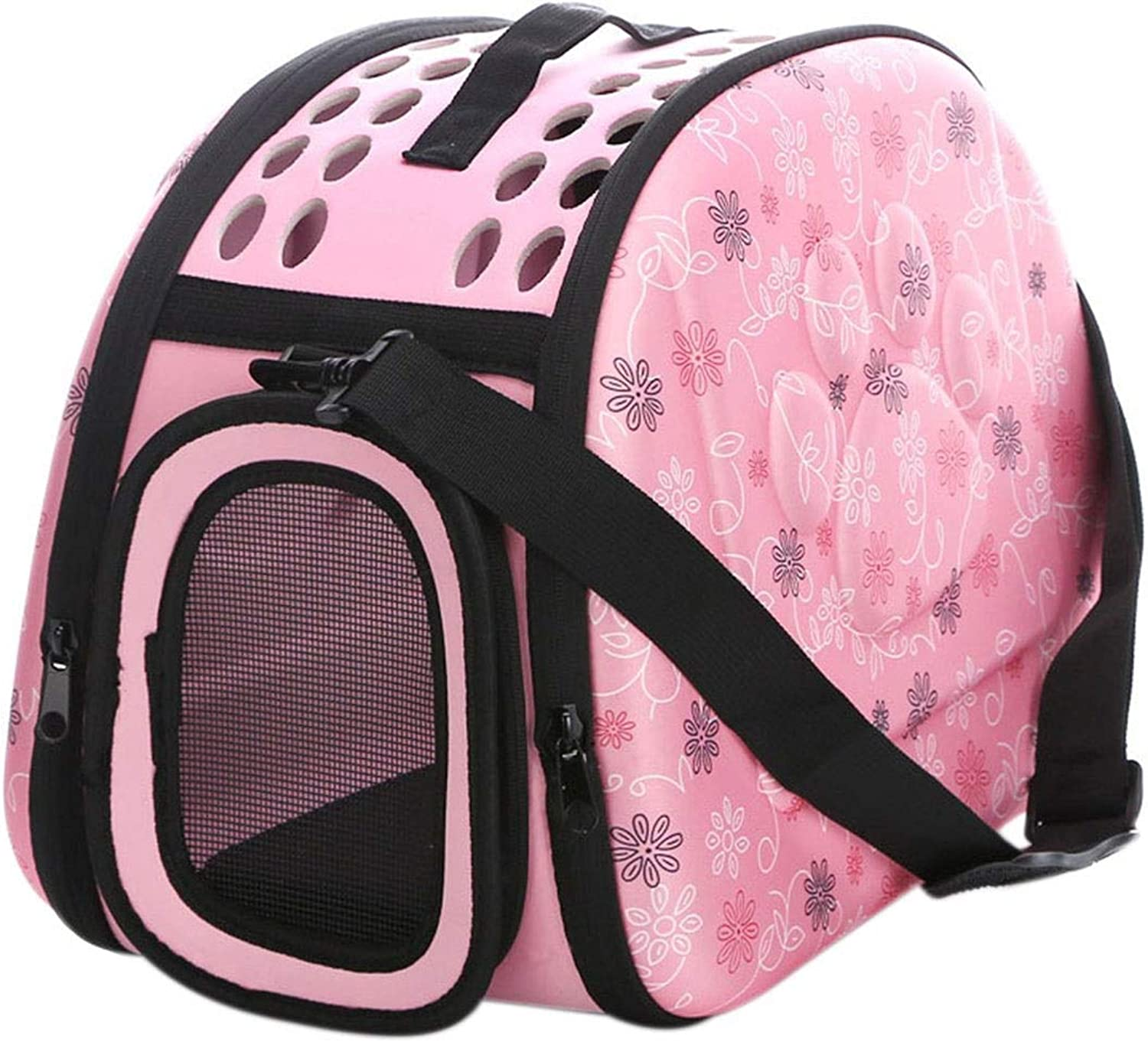 FANQIECHAODAN Breathable Pet Out Carrying Bag Foldable Pet Bag by Pet,Designed for Cats,Dogs,Kittens,PuppiesExtra Spacious Soft Sided Carrier (color   Pink)
