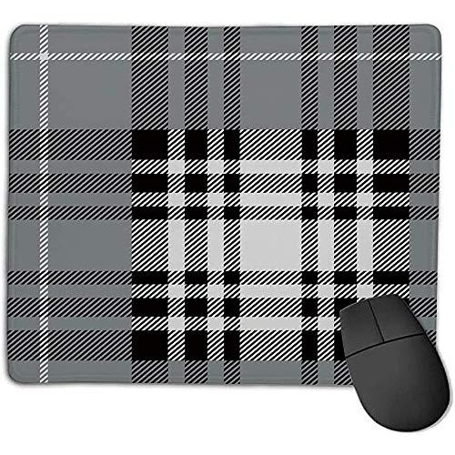 Muis Pad Geruit Oude Fashioned Plaid Tartan in donkere kleuren Klassieke Engels tegel Symmetrisch Grijs Zwart Wit e