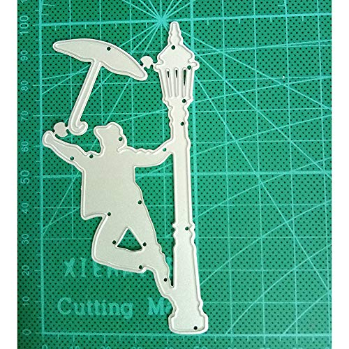 Man & Street Light Metal Cutting Die Scrapbooking, DIY Dies Cut Template Dies Embossing Mould for Photo Album Decorative Paper Cards Making