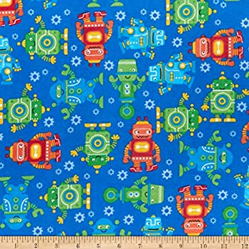 Comfy Flannel Print Robots Blue Fabric by the Yard