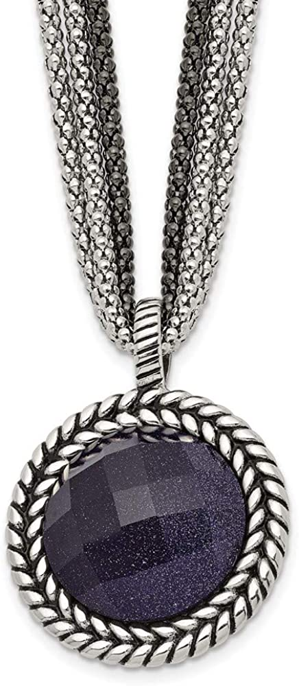 Chain Necklace White Stainless Steel pendant 18 Ranking TOP4 Popular with Sand Stone