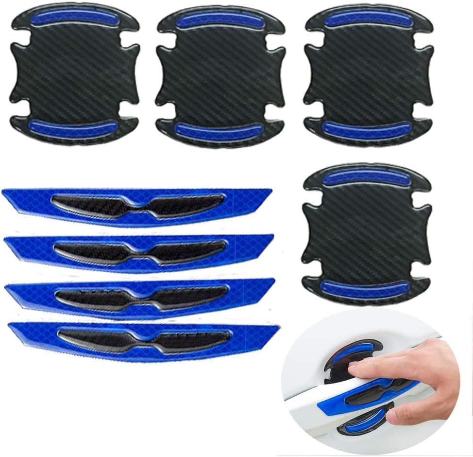 8 X Universal 3d Karbonfaser Autotürgriff Lackkratzschutz Aufkleber Autotürgriff Kratzschutz Schutzfolie Auto Außensicherheit Reflektierende Streifen Blau Auto