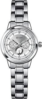 EDTara Women Stainless Steel Watchband Luminous Watch Stylish Wristwatch Students Watch White