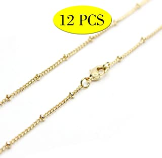 Wholesale 12PCS Gold Plated Solid Brass Satellite Beaded Ball Curb Thin Chain Necklace Bulk for Jewelry Making 16-30 Inches (20 Inch(1.5MM))