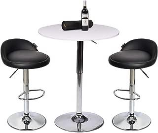 Set of 3 White Bar Table, with 2 Chrome Base Gas-Lift Barstool PU Leather Adjustable Swivel Black Stools