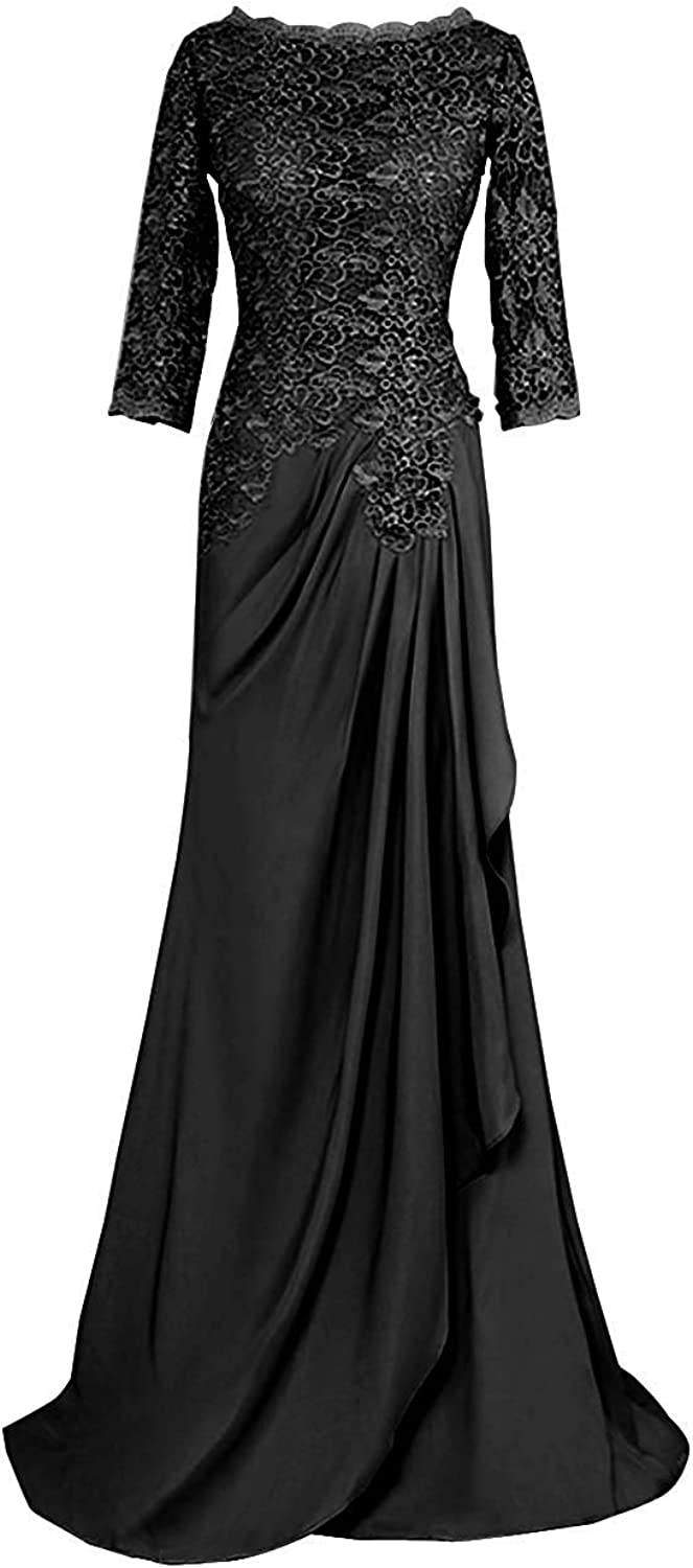 JINGDRESS Women's A Line Lace Evening Formal Gowns 3 4 Sleeve Elegant Ruffled Long Wedding Party Dresses High Back