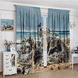 zojihouse Driftwood A Raft of Driftwood on The Shoreline with Seagulls Wavy Sea and The Sky Digital Image Blackout Window Curtain Blue Artwork Digital Print Drapes w72xL96