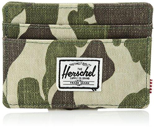 Herschel Supply Charlie Leather RFID Blocking Card Holder Wallet Billetera, Camuflaje de Rana, Talla única Unisex Adulto