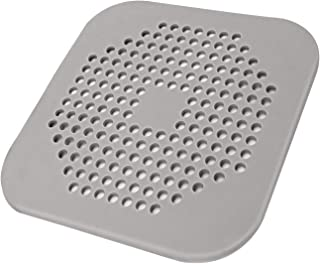 Square Drain Cover for Shower 5.7-inch TPR Drain Hair Catcher Flat Silicone Plug for Bathroom and Kitchen Grey/White Filter Shower Drain Protection Flat Strainer Stopper with Suction Cups (Grey)