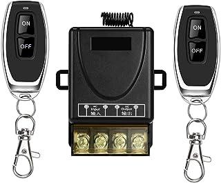 YETOR Interruptor remoto inalámbrico, Interruptor inalámbrico de relé 220V / 230V / 240V / 40A para electrodomésticos, bomba, luces de techo y equipo eléctrico con 328ft de largo alcance (black)