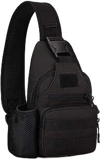 Chest Sling Bag Water Resistant MOLLE Shoulder Backpack Mens One Strap Daypack with Water Bottle Holder