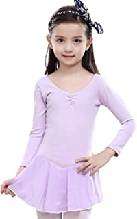 Girl Dance Ballet Leotard Dresses Kids Girl Cotton Long Sleeves Tutu Skirt