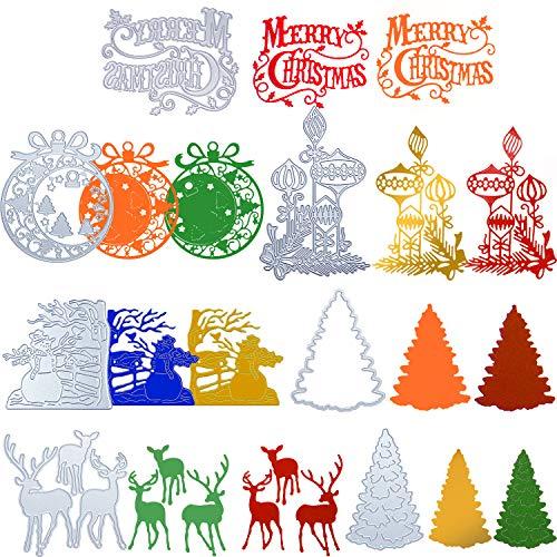 7 Pieces Christmas Ornament Die Cuts Christmas Metal Embossing Stencils Christmas Tree Snowflake Snowman Deer Cutting Dies Background Layering Dies Cuts for DIY Scrapbooking Album Paper Card Photo