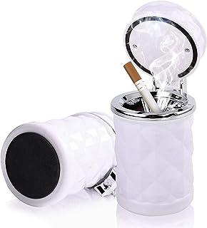 Besylo Auto Aschenbecher,2pcs Easy Clean Up Abnehmbarer Autoaschenbecher mit LED Licht mit Klappdeckel, selbstverlöschender Aschenbecher für Autos Van Outdoors Camping (Weiß)
