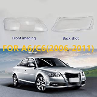 Headlight Lens Cover Headlamp Lens Cover in Shell Head Lamp Cover for Audi A6 C6 2006-2011 Headlight Transparent Lens Cover (Right)