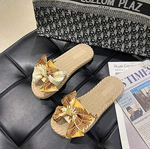 QTTC Zapatos De Mujer Sliper Verano Floral Sandalias De Playa Plataforma De Cuña Tangas Zapatillas ChanclasYellow-35