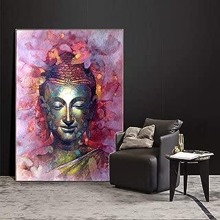 Fincico Arte Abstracto de la Pared de Buda Pinturas sobre Lienzo en la Pared Carteles e Impresiones Budismo Cuadros de la Pared para la Sala Cuadros Decoración 70x100cm
