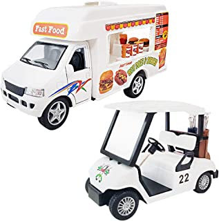 ArtCreativity Pullback Food Truck and Golf Cart Set - Die Cast Vehicles with Realistic Detail - Cool Pretend Play Toy Cars for Boys and Girls - Best Birthday Gift, Party Favors for Kids Ages 3+