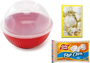 Microwave Popcorn Maker with Lid - Plastic Reusable Single Serve 8 Cup Popper - BPA Free - Oil Free - Melamine Free - Set Includes Popcorn Kernels and Over 20 Popcorn Recipes