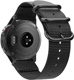 Fintie for Garmin Fenix 6 5 Band, Soft Woven Nylon Sport Strap Replacement Wristband for Garmin Fenix 6 Pro and Sapphire Edition/Fenix 5 / Forerunner 935 945 / Instinct Smart Watch, Black