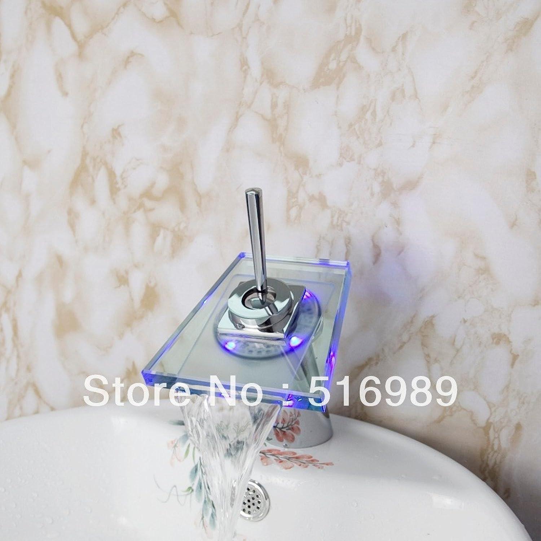 Tourmeler Single Handle Bathroom Led Glass Waterfall Basin Face Faucet Square Deck Mounted Mixer Tap Grass2