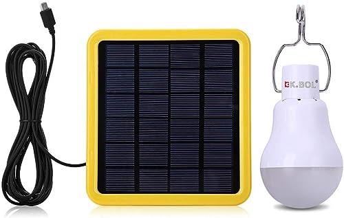 KK.BOL Solar Lamp Portable LED Light Bulb Solar Panel Powered Rechargeable Solar Led Lights Lamp for Home Lighting In...
