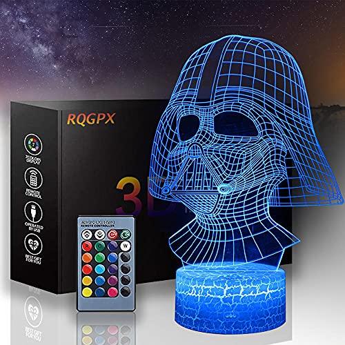 Lámpara de ilusión Darth Vader E 3D LED noche luz 16 cambio de color decoración lámpara Año Nuevo San Valentín regalos para niños niñas habitación decoración