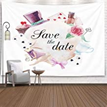 Gesmatic Tasperty Wall Hanging, 80X60 Inches Outdoor Wall Hanging Christmas Watercolor Wonderland Save Date Card Vintage Collage Label White Wall Room Decor Wall Art Living Room Ceiling Tapestry