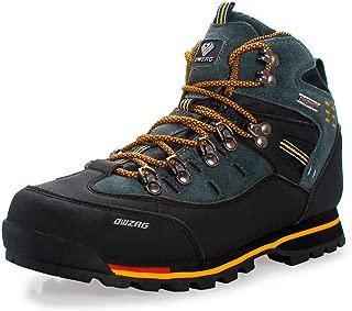 DWZRG Men's Waterproof Leather mid Hiking Boots Outdoor Non-Slip Lightweight Trekking Sneakers