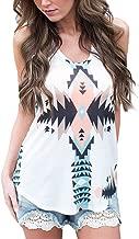 Bestjybt Women's Summer Sleeveless Loose Vest Shirt Aztec Tank Tops