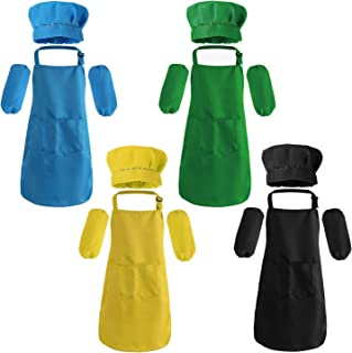 Suwimut 16 Pieces Kids Apron and Chef Hat Set, Boys Girls Adjustable Aprons with Sleeves for Age 7-13 Years Old Child Kitc...