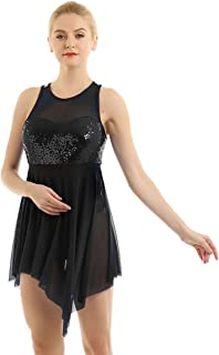 Women Sleeveless Lyrical Dance Costume Sweetheart Sequins Asymmetric Mesh Dress Leotard Ballet Bodysuit