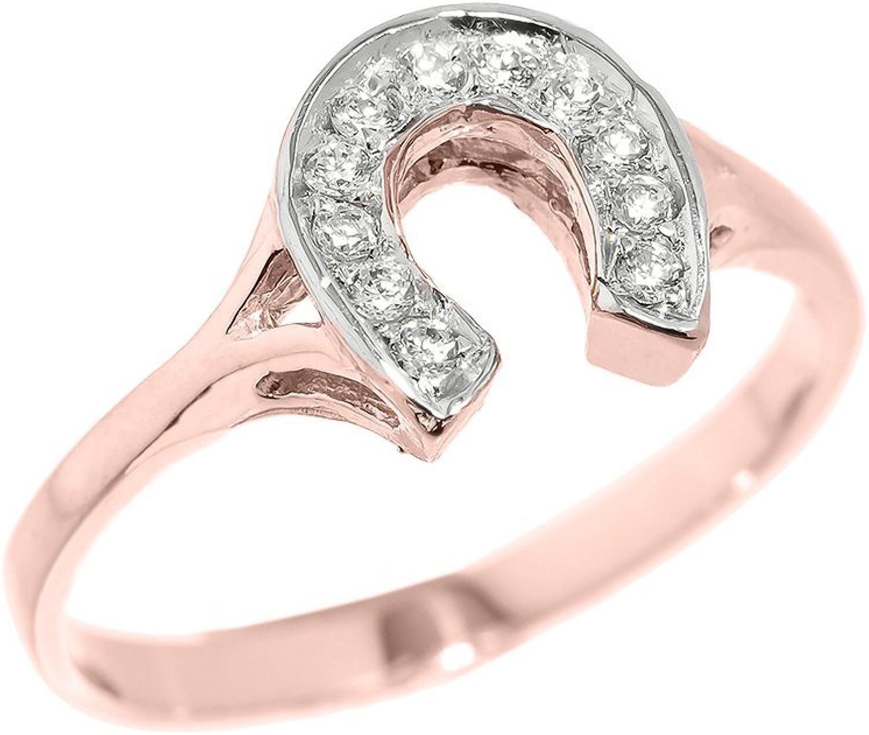 Dainty 14k pink gold CZStudded Ladies Horseshoe Ring
