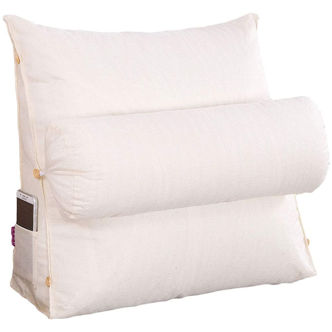 しつけ私の潜水艦Vercart 新発売 洗えるカバー ベッド 背もたれ ヘッドボード クッション フワフワ 腰痛対策 クリーム45*45*20cm