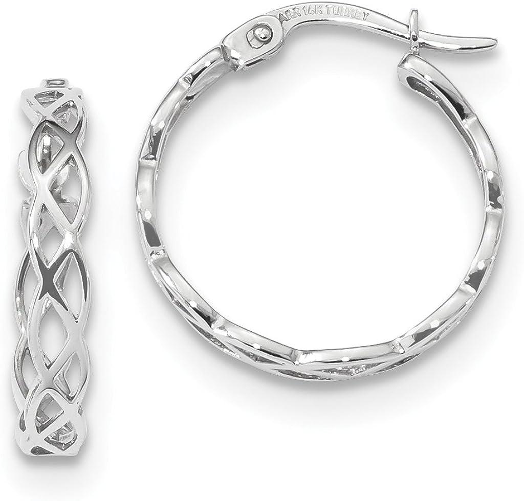 3.5mm Polished Celtic Weave Filigree Hoop Earrings in Real 14k Gold