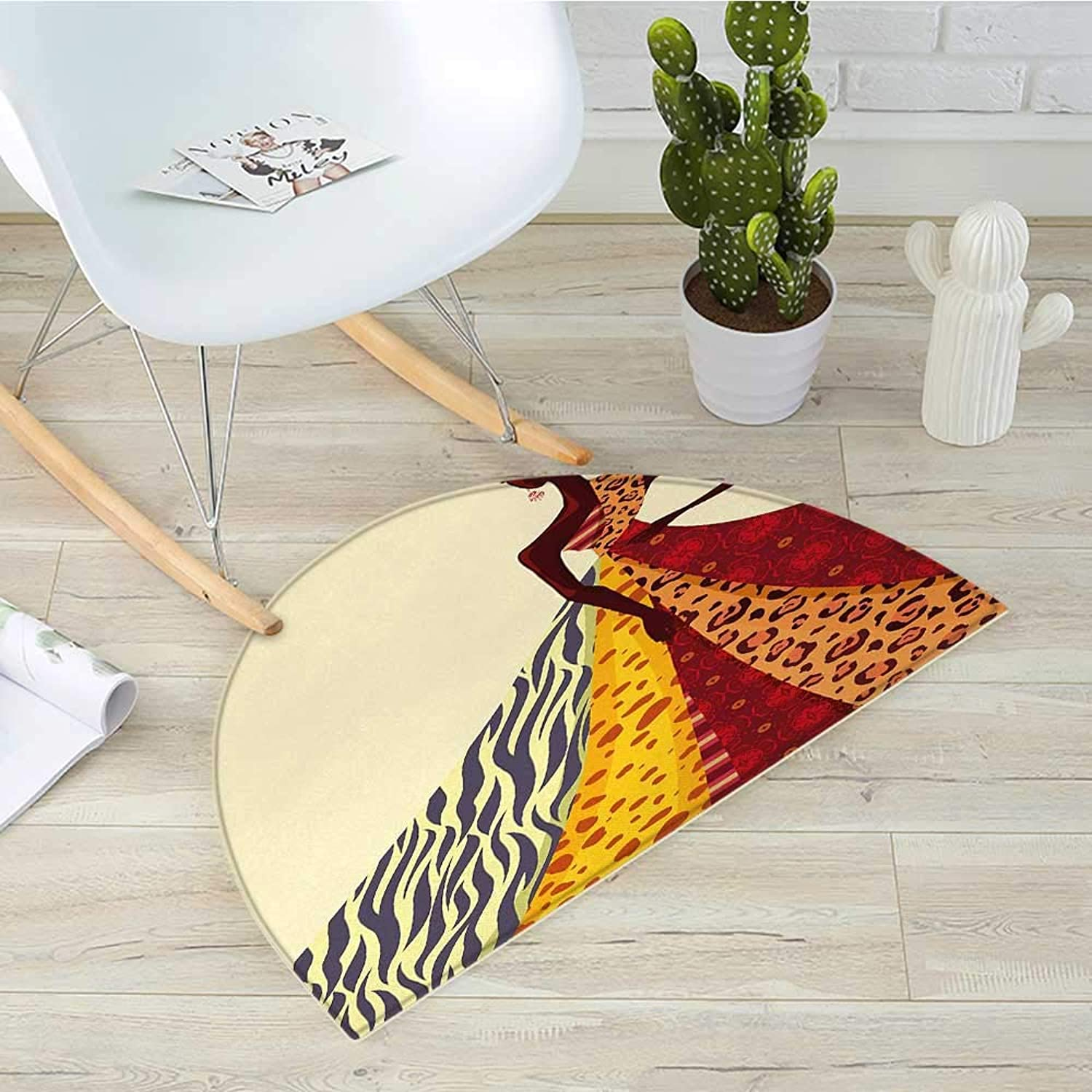 Modern Half Round Door mats African Girl Posing with a Dress of Different Design Patterned Image Artful Print Bathroom Mat H 35.4  xD 53.1  Multicolor