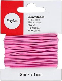 Rayher 8908933 Gummifaden, 1 mm ø, Karte 5 m, pink, elastische Gummischnur zum Nähen von Behelfsmasken, für Armbänder usw.