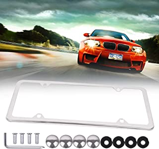 ECCPP License Plate Frame Protect Plates Universal License Plate Covers with Screws for US Vehicles (1Pcs 4 Holes Silver)